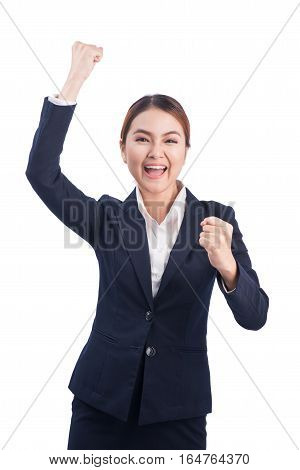 Successful business asian woman with arms up on white background