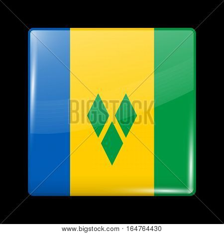 Flag Of Saint Vincent And The Grenadines. Glossy Icon Square Shape