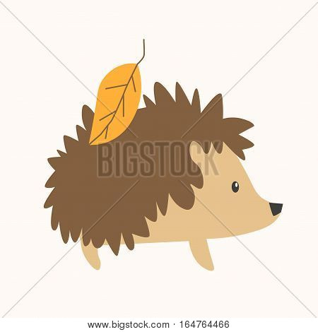 Cartoon Cute Hedgehog with the Yellow Leaf on the Back. Flat Design Style. Vector illustration