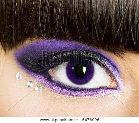 close-up of womanish eye with brilliants