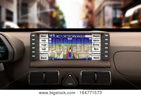 Navigation Device In The Car 3D Illustration