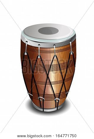 Punjabi drum called Dhol. Musical instrument. The drum in the Indian style. Realistic vector illustration isolated on white background