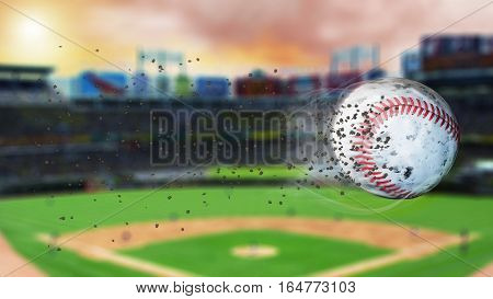 Flying baseball leaving a trail of smoke and dust. Spinning dirty baseball, selerctive focus. 3D illustration