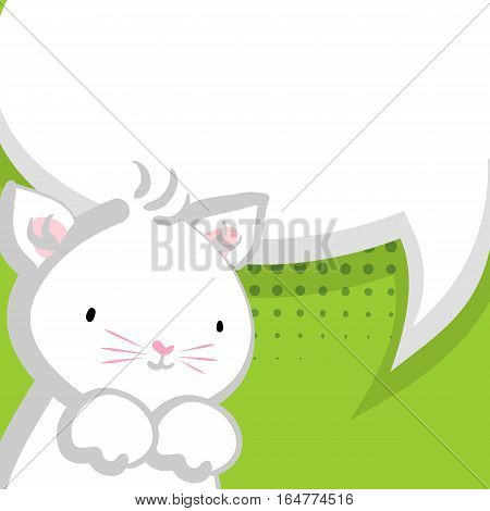 Vector festive hand drawn cat illustration.White cute little kitty pink nose for baby. Comic bubble, empty balloon. Green halftone background.