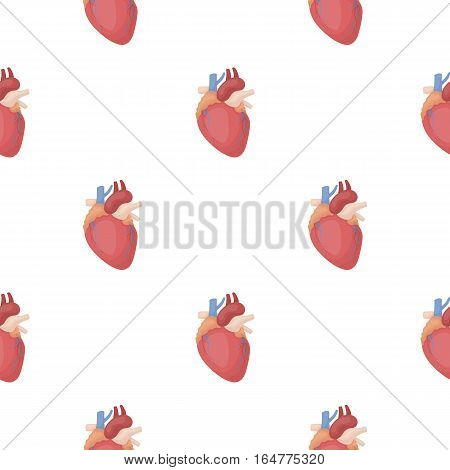 Heart icon in cartoon style isolated on white background. Organs pattern vector illustration.