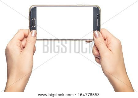 hand holding phone blank screen isolated white background