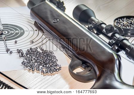 air gun with bullets targets and with cartridge