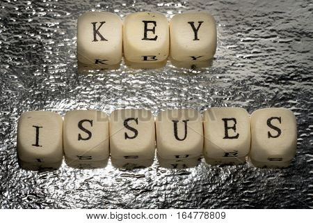 Key Issues Text On A Wooden Cubes On A Shiny Silver Foil Background