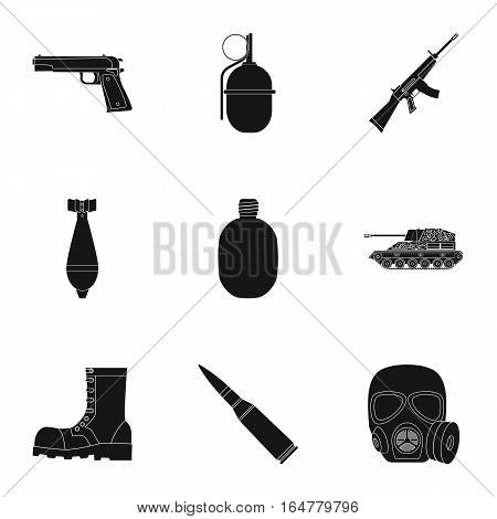 Military and army set icons in black design. Big collection of military and army vector symbol stock illustration