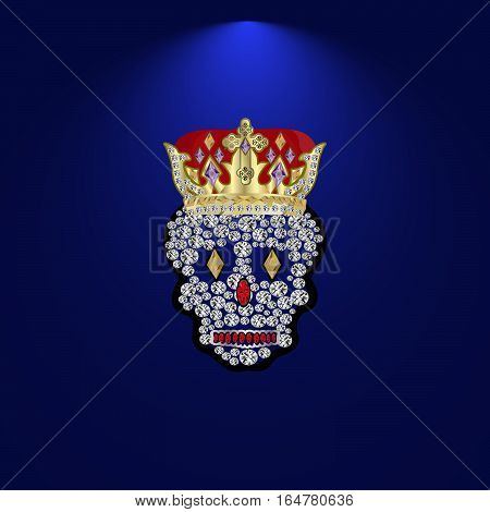 skull with a crown of precious stones