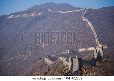Beijing, China - January 2017: Great Wall at Mutianyu People are climbing the Great Wall. Located in Beijing, China
