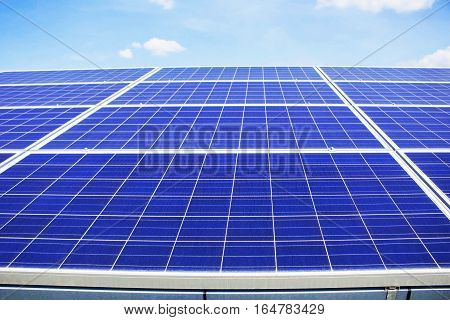 Solar panels with sky in the power station.