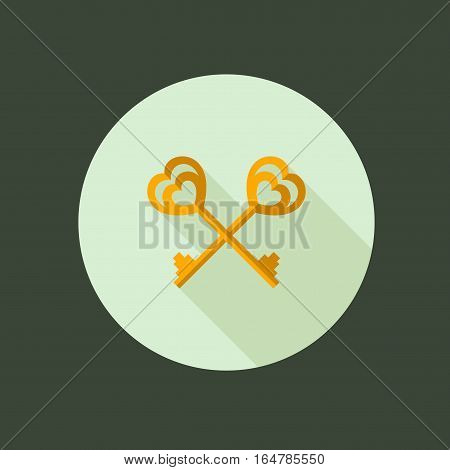 Key couple Circle Icon. Flat Design. Vector Illustration with Long Shadow. Happy Valentine Day Symbol. Two key with heart shape
