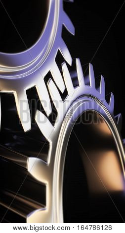 mechanical gear with sharp light and black environment and with place for copy space 3d illustration