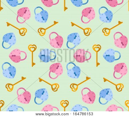 seamless pattern from padlock key with heart shape. Vector background for Valentine day