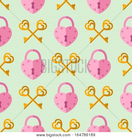 seamless pattern from padlock key couple with heart shape. Vector background for Valentine day