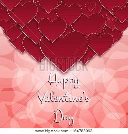 St. Valentine's greeting card. Paper style. Vector illustration.
