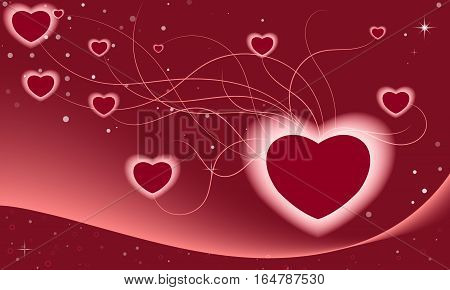 Flying abstract connected bordeaux hearts. Vector illustration.