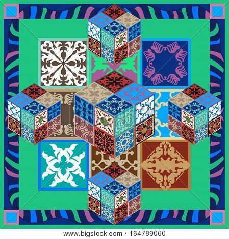 Spanish, Italian, Portuguese, Egyptian motifs. Gradation of green, terracotta and blue shadows.
