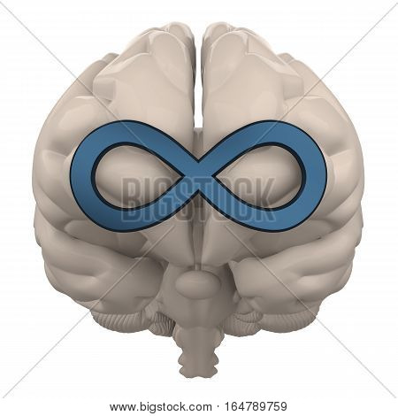 brain with infinity symbol isolated on white 3d rendering