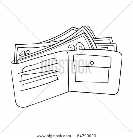 Wallet with cash icon in outline design isolated on white background. Supermarket symbol stock vector illustration.