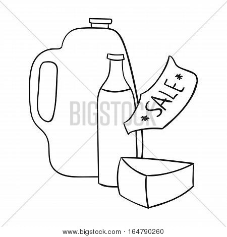 Grocery discount icon in outline design isolated on white background. Supermarket symbol stock vector illustration.