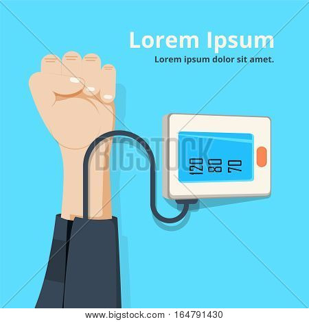 measuring patient blood pressure. Checking arterial blood pressure digital device tonometer. Healthcare concept. Vector illustration flat design. Medical equipment. Monitoring health.
