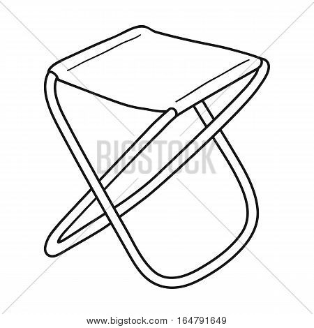 Folding stool icon in outline design isolated on white background. Fishing symbol stock vector illustration.