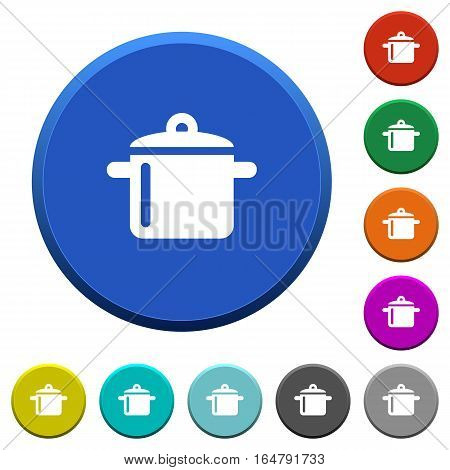 Cooking round color beveled buttons with smooth surfaces and flat white icons
