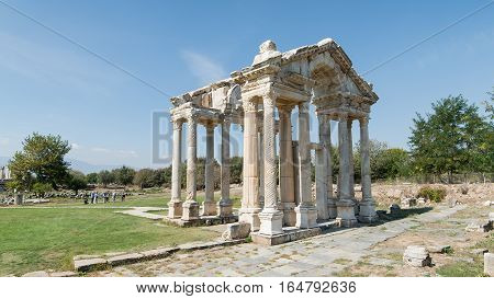Aydin, Turkey - October 9, 2015: The Monumental gateway of the ancient ruins of Aphrodisias in Geyre, Aydin