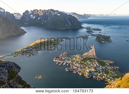 Reinebrinen, Norway - June 1, 2016: View of the Latofen islands from Reinebringen Mountain