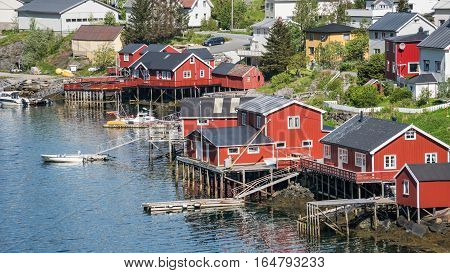 Reine, Norway - June 1, 2016: Scenery from Reine, a famous fishing village in Lotofen, Norway