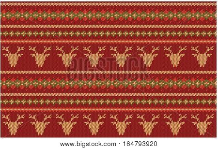 Seamless knitted  texture on burgundy, red background with deers. Colorful striped background. Can be used as scheme of knitting sweaters, pattern patchwork, wallpaper, web project, etc.  Horizontal.