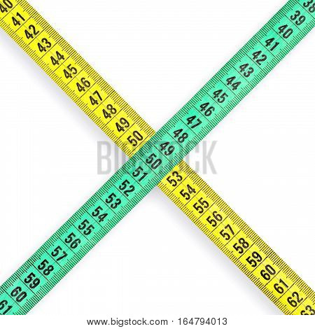 Measuring tape on a white background closeup