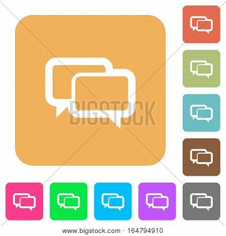 Chat bubbles flat icons on rounded square vivid color backgrounds.