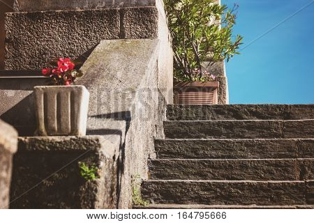 Stone stairs and sunlight. Old staircase and sky. Walk up to heaven.