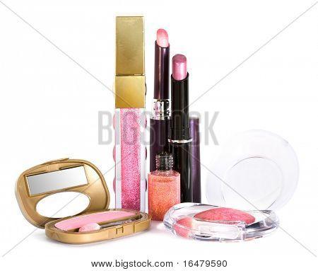 set for make-up, eyeshadows and lipstick