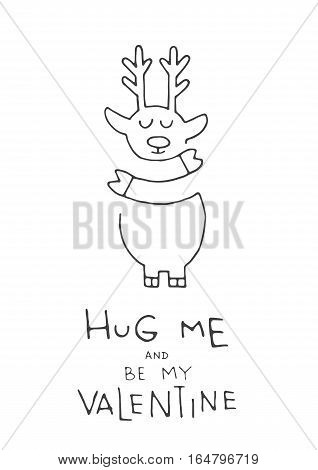 Greeting card for Valentines day, hand-drawn, on a white background isolated.