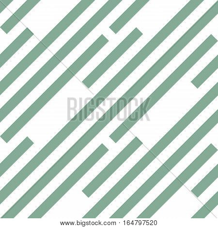 Seamless geometric pattern. Stripy texture. Diagonal gray-green strips on white background. Labyrinth theme. Vector