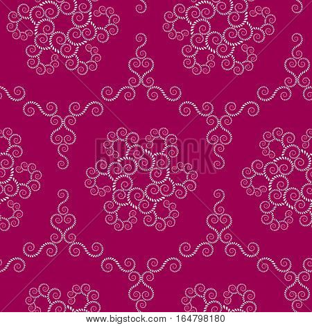 Seamless lace pattern. Vintage swirl texture. Spiral floral snowflakes. Twist ornament of laurel leaves. Light on dark magenta, rose colored background. Vector