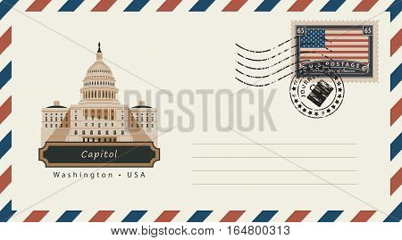an envelope with a postage stamp with Washington Capitol and the flag of United States of America