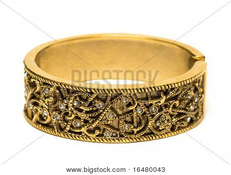 golden bracelet isolated on white background