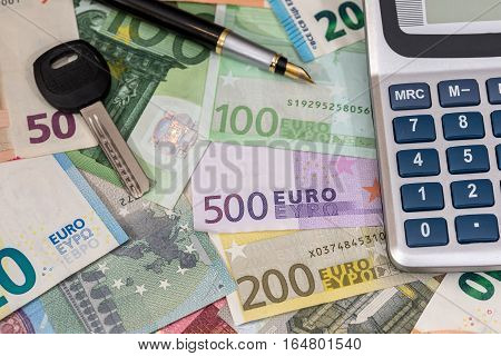 euro bills with house key as business concept.