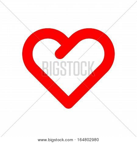 Red abstract Valentines day heart sign, blank button template with white background for design concepts, logo, banners, labels, postcards, web, prints, apps. 14th february. Vector Illustration.