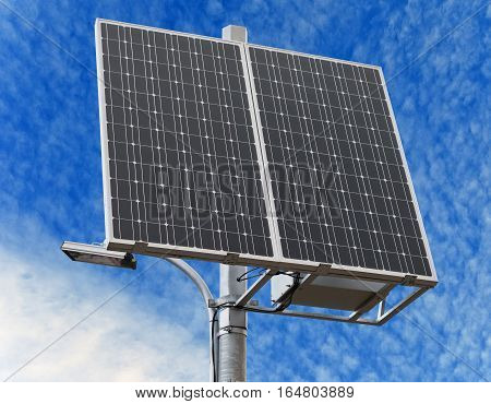 new solar panel on background of sky