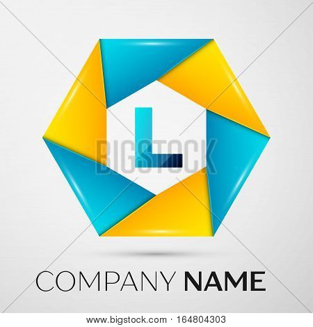Letter L vector logo symbol in the colorful circle on grey background. Vector template for your design