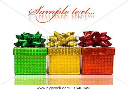 varicoloured gift boxes with bow