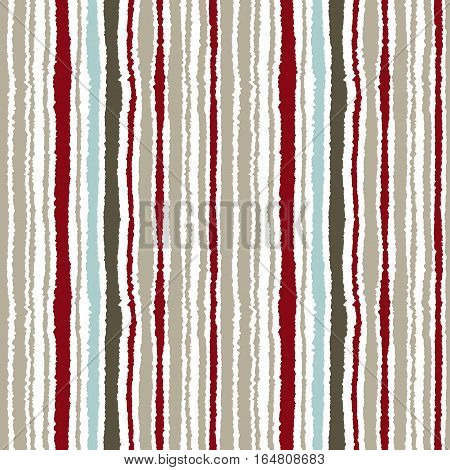 Seamless strip pattern. Vertical lines with torn paper effect. Shred edge texture. Gray, olive, vinous contrast colors on white background. Vector