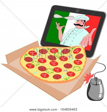 Ordering a pizza over the internet Vector file consists of five layers: a pizza, a computer mouse, a box and a monitor, cook, flag. We cook cap can be removed.