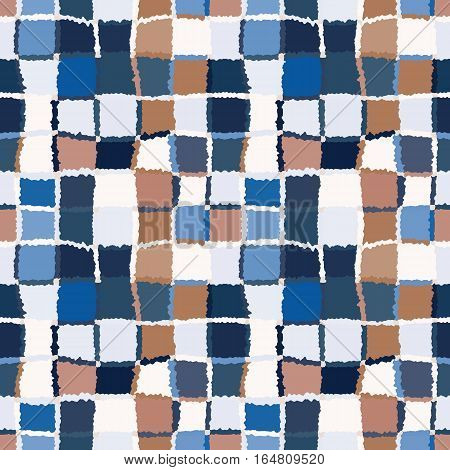 Seamless geometric mosaic checked pattern. Background of woven rectangles and squares. Patchwork, ceramic, tile texture. Blue, brown, white, contrast colors. Vector